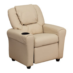 Flash Furniture - Flash Furniture Contemporary Beige Vinyl Kids Recliner w/ Cup Holder & Headrest - Kids will now be able to enjoy the comfort that adults experience with a comfortable recliner that was made just for them! this chair features a strong wood frame with soft foam and then enveloped in durable vinyl upholstery for your active child. Choose from an array of colors that will best suit your child's personality or bedroom. This petite sized recliner is highlighted with a cup holder in the arm to rest their drink during their favorite show or while reading a book. [DG-ULT-KID-BGE-GG]