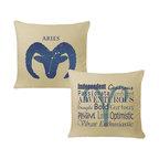 RoomCraft - Aries Zodiac Throw Pillow Cover Set - 16x16 Natural - FEATURES: