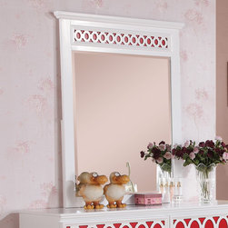 Coaster - Madeline Mirror, White/Red/Orange/Blue - The Madeline youth collection will help you create a bright and airy look in the youth bedroom in your home. Colorful top panels against the matte white finish on each piece helps to create a fun space to sleep, play or relax. Spacious storage in each piece make this a functional group too, completed with simple silver knobs for a timeless style. For a fun space that everyone will love, add the Madeline youth collection to your home.