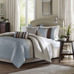 E & E Co., Ltd. - Tradewinds 6-Piece Duvet Cover Set in Blue - A classic color block pattern gets a modern twist on this cozy duvet cover set. The beautiful fabric has the look and feel of silk with delicate pintucking that gives it a posh, sophisticated style.