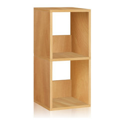Way Basics - Way Basics Eco 2 Shelf Duo Narrow Bookcase, Natural - Let your imagination run wild with this simplistic, modern, Duo Narrow Shelf that will complement and organize any space in your home! A unique tool free assembly & endless possibilities make it an essential piece for the home.