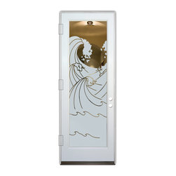 Sans Soucie Art Glass (door frame material Plastpro) - Glass Front Entry Door Sans Soucie Art Glass High Seas - Sans Soucie Art Glass Front Door with Sandblast Etched Glass Design. Get the privacy you need without blocking light, thru beautiful works of etched glass art by Sans Soucie! This glass is semi-private.  (Photo is view from outside the home or building.) Door material will be unfinished, ready for paint or stain.  Bronze Sill, Sweep and Hinges. Available in other finishes, sizes, swing directions and door materials.  Dual Pane Tempered Safety Glass.  Cleaning is the same as regular clear glass. Use glass cleaner and a soft cloth.