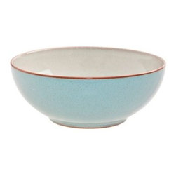 Denby Heritage Pavilion Soup / Cereal Bowl - Set of 4 - Every day doesn't have to be boring when you have the Denby Heritage Pavilion Soup/Cereal Bowl- Set of 4 on deck for breakfast time. These durable stoneware bowls are designed with vintage design in mind, and feature a delicate blue outer surface with a slim light brown rim at the top. This set of four is perfect for everyday use, whether its oatmeal or a hearty bowl of soup with family or friends. These versatile pieces are also microwave and dishwasher safe.About DenbyDenby has its roots in England, where skilled craftsman have been making pottery using traditional methods for over 200 years. Though the time and styles have changed, Denby has kept pace, and today continues to make high-quality, beautiful, and timeless dinnerware. From its humble roots, Denby has spread all over the world, and is a top choice for brides and families looking to spruce up their dining sets. Even better, all of Denby's products are made for the modern kitchen, and are dishwasher-, oven-, microwave-, and freezer-safe.