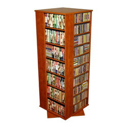 Venture Horizon - 4 Sided Revolving Media Tower Grande in Cherr - Rotates 360�. Huge storage capacity. Organizes all media. Constructed from durable, stain resistant and laminated wood composites that includes MDF. Made in the USA. Assembly required. Media storage capacity:. CD's : 1600. DVD's : 756. Blu-ray's: 1056. VHS tapes: 448. Disney tapes: 336. Audio cassettes: 1600+. Weight: 125 lbs.. Shelf depth: 6 in.. Assembled size: 24 in. W x 24 in. D x 63 in. HOrganize an entire media collection. These 4 sided beauties will brighten up any room. Because they rotate a full 360�, you will never have to strain your neck locating your favorite CD, DVD, video or cassette. There are 5 models from which to choose so identifying the perfect match should be easy. Nearly all the shelves are adjustable so even odd sized media like Disney Tapes can be accommodated. Constructed from durable melamine laminated particle board these towers are stain resistant and easy to clean. The front panels and top/bottom panels on Models: 2021, 2022, 2381, 2391 and 2392 are gently molded and stylishly contoured to add real value. NEW! We just added a 2 sided Revolving Media Tower available in 2 sizes and 4 colors.