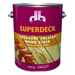 Duckback Products, Inc. - 20144 1G Valley Pres Treated - SUPERDECK PRESSURE TREATED EXTERIOR STAIN  One coat system - transparent stain  High solids, oil-based penetrating stain  Inhibits mold, mildew and sun damage  For use on exterior pressure treated and -  non-treated wood surfaces, such as decks, -  fences, siding, furniture, etc.  250 VOC      20144 1G VALLEY PRES TREATED  Size:1 Gal.  Color: Valley