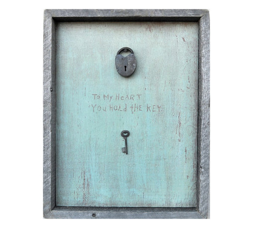 Kathy Kuo Home - Key To My Heart Turquoise Reclaimed Wood Wall Art - This sweet wall hanging just may hold the key to your heart. With the sentiment etched on a washed turquoise background, a vintage lock and key bring the message to your home. It's hand-framed in reclaimed wood, and comes ready to hang.