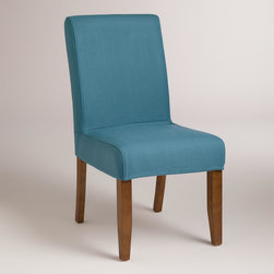 World Market - Aegean Blue Anna Slipcover - Our Aegean Blue Anna Slipcover offers a colorful style update to our Anna Slipcover Chair. Mix and match it with our solid and patterned slipcovers to personalize the look of your dining room.