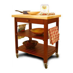 Catskill Craftsmen - Roll-About Kitchen Cart w 2 Shelves, Drawer & - The charming design of this castered kitchen cart will make it perfect for a country or cottage inspired kitchen. It features slatted open shelves as well as a utensil drawer and has a solid top for added function. It is constructed of hardwood and features a cherry finished base with a natural top. Made of hardwood. Cherry stained base finish. Convenient wide drawer. Thick lacquered top. 2 Towel bars. 2 Slatted shelves. Locking caster wheels. Overall: 20 in. L x 29 in. W x 35.5 in. H (65 lbs.). Table top: 20 in. L x 29 in. W. Top shelf: 18.5 in. L x 26.5 in. W x 9.5 in. H. Bottom shelf: 18.5 in. L x 26.5 in. W x 12 in. H. Interior drawer: 14.5 in. L x 22 in. W x 3 in. HAs rugged and as beautiful as the Catskill Mountains, our imports reflect our commitment to quality.
