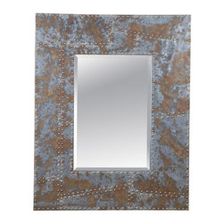 Bassett Mirror - Newton Rustic Metal and Nailhead Wall Mirror - Newton Rustic Metal and Nailhead Wall Mirror by Bassett Mirror