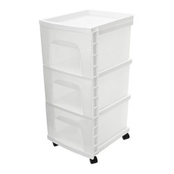 None - Homz Three Drawer Storage Cart - HOMZ Three Drawer Cart is ideal for general storage throughout the home. It includes four casters for easy mobility.