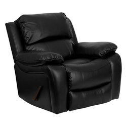 Flash Furniture - Flash Furniture Black Leather Rocker Recliner - MEN-DA3439-91-BK-GG - This motion recliner will provide you comfort with the added bonus of the rocking feature. The rocker recliner can not only be used in the living room, but makes for a great nursery chair. The gentle back and forth rocking is soothing to both babies and adults. The thick cushions add to the comfort level to provide you comfort while you relax. The durable leather upholstery allows for easy cleaning and regular care. [MEN-DA3439-91-BK-GG]