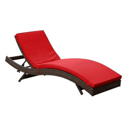 Modway - Modern Patio Furniture Peer Chaise, Brown With Red Cushions - Don't let moments of relaxation elude you. Peer is a serenely pleasant piece comprised of all-weather cushions and a rattan base. Perfect for use by pools and patio areas, chart the waters of your imagination as you recline either for a nap, good read, or simple breaths of fresh air. Moments of personal discovery await with this chaise lounge that has fold away legs for easy storage or stackability with other Peer lounges.