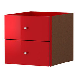 Expedit Insert With 2 Drawers, High Gloss Red - This drawer is made specifically to fit into the Expedit storage units. Such a great idea!