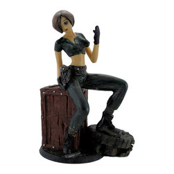 Apocalyptic Military Manga Anime Girl Statue - This sexy soldier has just spotted another enemy and is signaling for backup as she reaches for her weapon, determined to win this battle! This cold cast resin statue measures 8 inches tall, 5 1/2 inches wide, and 5 inches deep. It is hand painted, and wonderfully detailed, from the texture of the damaged truck tire to the empty casings littering the ground. This piece is a great addition to anime art collections, and makes a great gift for a friend.
