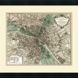 Amanti Art - Vintage Reproduction 'Plan de Paris' Framed Art Print 21 x 18-inch - Vintage maps are a classic accent that never goes out of style. Whether you are a map lover or wish to document and showcase where you have been (or would like to go), maps make a great addition to any space.