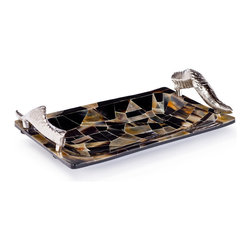 Kathy Kuo Home - Sadar Global Bazaar Silver Horn Veneered Cache Tray - The next time you have guests, surprise them when you serve appetizers on this beautiful mosaic serving tray. Forgive them, they may be oohing and aahing over more than your canapés. When not in service, this tray can double as a catchall on your dresser for spare change and jewelry.