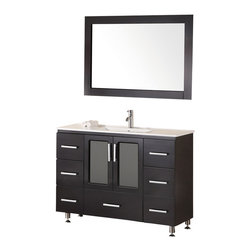 "Design Element - Design Element Stanton Espresso Single Drop-in Sink Vanity Set - 48"" - The Stanton 48"" Drop-In Sink Vanity is elegantly constructed of solid hardwood. The integrated porcelain counter top and seamless drop in design bring a crisp and contemporary look to any bathroom. The integrated rectangular drop in sink beautifully showcases the rich features of the espresso cabinetry. This stylish design includes seven drawers and soft closing double door cabinet all adorned with satin nickel hardware. Included is a large espresso framed mirror. The Stanton Bathroom Vanity is designed as a center piece to awe-inspire the eye without sacrificing quality, functionality or durability."