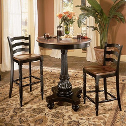 Hooker Furniture - Indigo Creek 3 Pc Pub Table Set - Highly detailed fluted accents add visual interest to this three-piece pub table set, a classic addition to any decor. Perfect for casual dining, the set includes a pub table with a pedestal base and two counter stools with ladder backs and a two-tone black and brown finish. Includes table, a counter stool and a bar stool. Pedestal base table. Black finish with rub-through. Made from hardwood solids and veneers. Table: 36 in. Diameter x 42.5 in. H (127 lbs.). Counter Stool: 21 in. L x 19.25 in. W x 38.5 in. H (32 lbs.). Bar Stool: 21 in. L x 19.25 in. W x 43 in. H (35 lbs.)