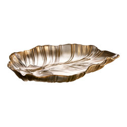 Jay Import Co. - Venezia Gold Leaf Platter - Imagine a golden forest with gilded leaves all aglow in the moonlight. Now you can reach out and pick one, and use it to serve anything you desire in a truly enchanted fashion.