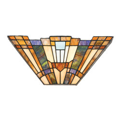 Quoizel - Quoizel TFIK8802 Inglenook 2 Light Wall Sconces in Valiant Bronze - Long Description: A classic geometric Arts & Crafts piece with handcrafted art glass in shades of sapphire blue, warm honey, amber and cream.