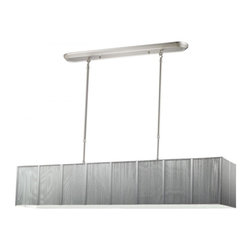 Five Light Brushed Nickel Nylon Silver Shade Island Light - Beautiful silver ribbons surround this elegant rectangular fixture, which is suspended from telescoping finished in brush nickel hardware, to ensure the perfect height.