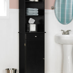 None - Espresso Linen Cabinet - Add extra storage and style to your bathroom with this linen cabinet featuring a concealed and open storage area for your bathroom supplies. An espresso finish highlights this cabinet.