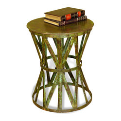 Kathy Kuo Home - Samara Antique Verdigris Green Hammered Metal Side Table - Forged from antique verdigris finished iron, the hourglass shape, geometric lines, and rustic finish combine to create a uniquely versatile piece.  In an exotic room, the hourglass shape takes on the look of a drum.  In a classically European or colonial styled room, the same drum-like silhouette creates