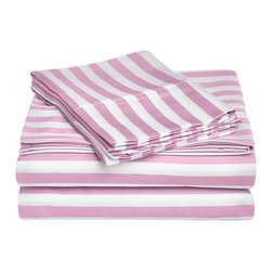 """Cotton Rich 600 Thread Count Cabana Kids Sheet Set - Full - Hunter Green - This Cotton Rich Sheet set features bright cabana colors and child friendly sizes. Our 600 Thread Count Cotton Rich Cabana Kids Sheet Set is a superior quality blend of 55% Cotton and 45% Polyester making these duvets soft, wrinkle resistant, and easy to care for. Set includes: Flat Sheet(81"""" x 96""""),  Fitted(54"""" x 75""""), and Two Pillowcases(20"""" x 30"""")."""