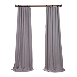 "Exclusive Fabrics & Furnishings, LLC - Pepper Gray Heavy Faux Linen Curtain - 100% Polyester. 3"" Pole Pocket with Hook Belt & Back Tabs. Unlined. Imported. Weighted Hem. Dry Clean Only."