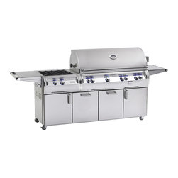 """Fire Magic - Fire Magic Echelon E1060s-4E1N-51 Standing NG Cabinet Grill - E1060 Stand Alone Natural Gas Grill with Rotisserie Backburner & Power Burner  Sleek lines and contoured control panel with rounded edges and mirrored highlights; Cast stainless steel """"E"""" burners - guaranteed for life; Infra-red Burners for quick searing and high temperature cooking.  16-gauge stainless steel flavor grids engineered for durability and even heat distribution; Heat zone separators isolate cooking areas so foods can be cooked at different temperatures; Recessed Quantum back burner for large size rotisserie cooking and heavy duty rotisserie kit; Integral and removable oven warming rack for light cooking or warming foods  Angled halogen lamps for night viewing; Blue backlit safety knobs; Hot surface ignition-simply push in the control knob, turn up the gas and light the grill; Stainless steel woodchip smoker with its own 3,000-BTU dedicated burner.    Cooking Surface: 1056 sq. inches (48"""" x 22"""")  BTU's: 115,000 Primary;11,000 (x2) BTUs Backburner; 60,000 BTUs Sideburner   -Dimensions with or without single sideburner: Height (floor to top with oven): 60.5"""" (Open), 52"""" (Closed). Height (floor to top of shelf): 37"""". Width (cart base): 53"""". Width (with shelves): 86.25"""" (both up), 66.75"""" (1 up/1 down). Depth (cart base): 26"""". Depth (maximum outer): 29.75"""". Dimensions with double sideburner or power burner: Height (floor to top with oven): 60.5"""" (Open), 52"""" (Closed). Height (floor to top of shelf): 37"""". Width (cart base): 77.75"""". Width (with shelves): 111"""" (both up), 93.75"""" (1 up/1 down). Depth (cart base): 26"""". Depth (maximum outer): 29.75"""". 15 year warranty on backburnersCast stainless steel burners, stainless steel housing and stainless steel cooking grids are warranted for as long as you own your grill"""