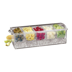 Paderno World Cuisine - Bar Cocktail Container with Ice Drawer and 5 Starage Compartments - The Paderno World Cuisine clear plastic bar container with an ice drawer contains five storage compartments. Preparing multiple cocktails and drinks require organization. The container is designed to snuggle in the bar area while providing constant access to the necessary ingredients.