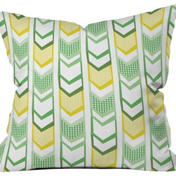 DENY Designs - Heather Dutton Right Direction Lemon Lime Throw Pillow - Wanna transform a serious room into a fun, inviting space? Looking to complete a room full of solids with a unique print? Need to add a pop of color to your dull, lackluster space? Accomplish all of the above with one simple, yet powerful home accessory we like to call the DENY throw pillow collection! Custom printed in the USA for every order.