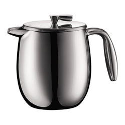 Bodum Columbia French Press Coffee Maker, Double Wall Stainless Steel, 4 cup, 17