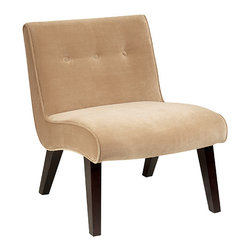 Office Star - Office Star Avenue Six Curves Valencia Accent Chair in Coffee Velvet - The elegant Valencia accent chair will add luxury to any room. The chairs are covered in high performance easy care fabrics with Dacron wrapped foam cushions. solid wood legs for durability completes the design.