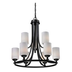 Z-Lite - Z-Lite 2006-9 Chambley 9 Light Up Light 2 Tier Chandelier - Z-Lite 2006-9 Chambley 9 Light Up Light 2 Tier ChandelierA fixture from Z-Lite's Chambley Collection, featuring a iron frame, glass shade and modern lines highlight this nine light chandelier from the Chambley Collection. With a height of 28.38 inches and a luxurious oil rubbed bronze finish, this chandelier adds a contemporary feel to any room.Z-Lite 2006-9 Features:
