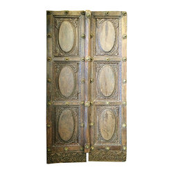 Mogul interior - Indian Haveli Doors solid Rustic Wood Door Panel India Teak Furniture - Indian wooden doors in various designs and patterns which not only depict the Indian mythology but also adorn the interiors of the Havelis or Indian mansions.
