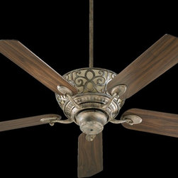 """Quorum Lighting - Quorum Lighting Cimarron 52"""" Traditional Ceiling Fan X-85-52596 - This Quorum Lighting ceiling fan features an incorporated light with beautiful scroll overlay detailing, which pops against the light tones of the glass backdrop. From the Cimarron Collection, this traditional ceiling fan also features elegant scrolled arms and multiple finish options."""