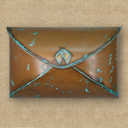 Envelope Wall-Mount Mailbox - Verde Copper - This wall mount copper mailbox features a unique envelope design and a rustic Verde Copper finish. A beautiful addition to your home's exterior.
