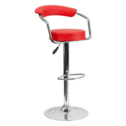 Flash Furniture - Red Vinyl Adjustable Height Bar Stool with Arms and Chrome Base - This dual purpose stool easily adjusts from counter to bar height. This retro style stool with arms will look great around the bar or kitchen. The easy to clean vinyl upholstery is an added bonus when stool is used regularly. The height adjustable swivel seat adjusts from counter to bar height with the handle located below the seat. The chrome footrest supports your feet while also providing a contemporary chic design.