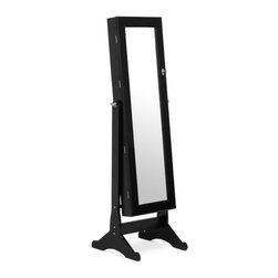 Wholesale Interiors - Black Wessex Floor Mirror - You will enjoy storage galore with our Wessex floor mirror. Not only does it reflect via its center-hinge-tilting mirror, it opens up to reveal an extensive jewelry cabinet featuring six shelves, two pull-out drawers and an abundant supply of hooks. Whether you need to store earrings, rings, necklaces, bracelets, scarves or sunglasses, this is the floor mirror for you. black finish and metallic hardware look fantastic.