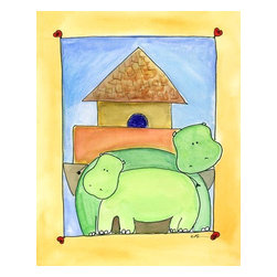 Oh How Cute Kids by Serena Bowman - Mod Ark Hippo, Ready To Hang Canvas Kid's Wall Decor, 20 X 24 - Every kid is unique and special in their own way so why shouldn't their wall decor be so as well! With our extensive selection of canvas wall art for kids, from princesses to spaceships and cowboys to travel girls, we'll help you find that perfect piece for your special one.  Or fill the entire room with our imaginative art, every canvas is part of a coordinating series, an easy way to provide a complete and unified look for any room.