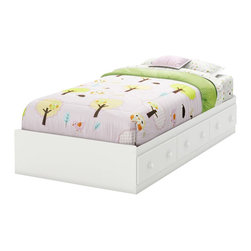 South Shore - South Shore Handover Twin Bed in Pure White - South Shore - Kids Beds - 3580A1 - This sturdy Handover Twin Mates Bed in Pure White finish with matching wooden knobs has been made to meet your childs needs for years to come. This look which will never go out of style works well with various types of d��cor so you can change your little ones bedroom to suit his or her tastes without having to think about replacing the furniture. It was designed with both maximum safety and a trendy look in mind to give you a well ordered and highly practical room set up to reflect the taste of the times.  It  creates a pleasant comfortable space for your child.  This bed is reversible so the 3 drawers can be on either side. It doesnt require a box spring and its weight capacity is 250 pounds.