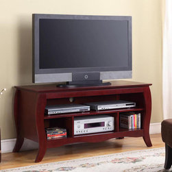 None - K&B Cherry Finish TV Stand - This attractive,curved TV stand features a large open top shelf,one open center shelf,and three open cubes on bottom for extra storage. Finished in a gorgeous cherry wood,this piece is as stylish as it is functional.