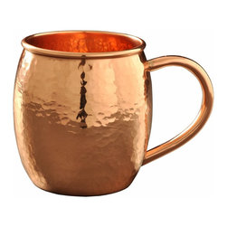 Custom Copper Mugs, LLC - Hammered Barrel Shape Copper Mug - 16 oz - Our Hammered Moscow Mule Mugs are constructed of 100% pure copper and hand hammered for a unique touch. We apply a food-safe lacquer  that resists tarnishing for lasting beauty and luster. The mug of choice when serving the infamous Moscow Mule--a cocktail made from a blend of vodka, ginger beer, and lime juice. The copper mug enhances the flavor and keeps the drink colder, longer.
