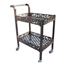 Oakland Living - Oakland Living Mississippi Cast Aluminum Service Cart in Antique Bronze - Oakland Living - Garden Sculpture - 6029AB - About This Product: