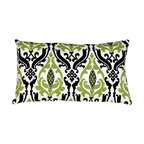 Pillow Decor - Pillow Decor - Linen Damask Print Green Black 12 x 20 Throw Pillow - A grass green and black damask pattern give this 12 x 20 rectangular throw pillow dramatic flair. The pattern in printed on an white background. Made from a high quality, 100% linen fabric, this throw pillow is bold and lively, yet sophisticated. A great pillow to bring some contrast and flair to your home.