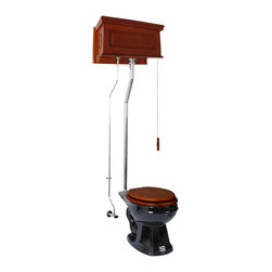 Renovators Supply - High Tank Toilets Mahogany Raised Tank Round High Tank Toilet - High Tank Toilets L-pipe: Our stylish high tank round toilet will lend your lavatory the charm & ambiance of the Victorian age. We've updated the materials and components with 21st century technology. All tanks are a water-saving 1.6 gallons per flush. Ready to install with all mounting parts, tank, liner, pipes and bowl.