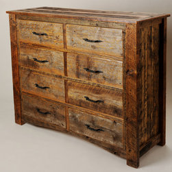 Rustic Furniture Portfolio - This 8-drawer dresser is built entirely of reclaimed Montana barn wood.  Hand forged and oil-blackened pulls compliment the reclaimed color.