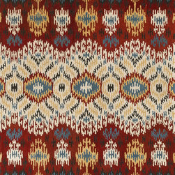 """Loloi - Loloi Leyda LY-03 (Red, Multi) 3'6"""" x 5'6"""" Rug - The new Leyda Collection features seven updated Ikat designs that will soften the look of any room. Hand-tufted in India of 100-percent wool, the rugs come in striking, up-to-date blue, ivory/multi, black/light gold, red/multi, midnight, cream/gray, ivory, light gold and gray/denim."""