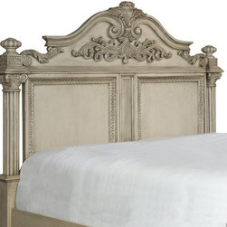 """Magnussen - Bellevue Panel Headboard - Make a stately impression with the classically inspired Bellevue bedroom collection. With mid-19th Century French details, antique brass hardware and elaborate decorative moldings, the Bellevue Collection makes everything """"old"""" feel crisp and new again. Features: -Bellevue collection. -Antique White finish. -Hardwood solids with quartered white oak veneer, metal caps and gun metal hardware constructions. -Headboard ships with KD legs. -1 Year warranty. Dimensions: -Queen: 77"""" H x 68"""" W x 8"""" D, 230 lbs. -King: 77"""" H x 84"""" W x 8"""" D, 254 lbs."""